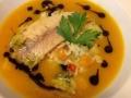 Těstovinové risotto s dýní a uzeným pstruhem v dýňové polévce