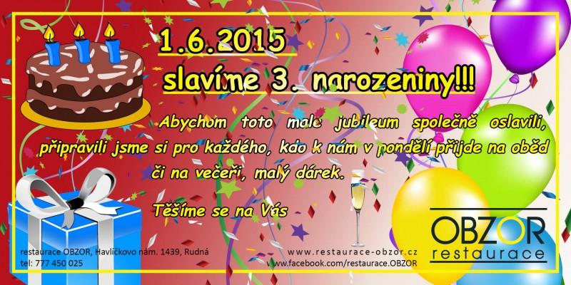 3. narozeniny restaurace OBZOR